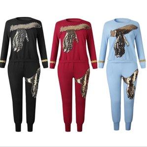 Lady fz2608 İçin Kadınlar Yeni Boncuk payetli Afrika Elastik Bazin Baggy Pantolon Rock tarzı dashiki Kol Ünlü Suit