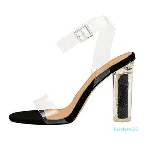 2020 Летняя Женщины Синий Желтый Красный Bling Clear High Heels Sandals Дизайнерские Open Toe сандалии Прозрачный Большой размер обуви AL30