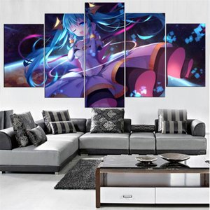 Anime Girl Hatsune Miku,5 Pieces HD Canvas Printing New Home Decoration Art Painting (Unframed Framed)