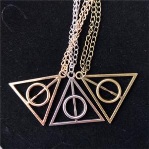 Ultimo Più Deathly Hallows la collana di Harry Libro antico Argento Bronzo Oro doni della morte Triangolo Pendenti Potter Moda gioielli regali INS