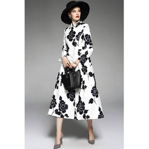 New spring 2020 Yousef aljasmi Vintage socialite white printing double-breasted coat dust coat show thin big yards
