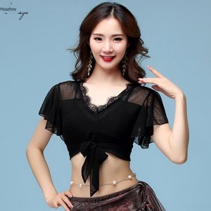 Huayu Dance 2019 belly dance exercise suit eyelash lotus Top lace lace leaf short sleeve top sexy female adult