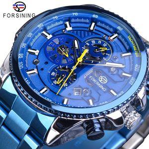 Forsining Mens Automatic Watch Blu Steel Band Calendario 3 Sub Dial Orologio meccanico impermeabile Maschio Clock Relogio Masculino