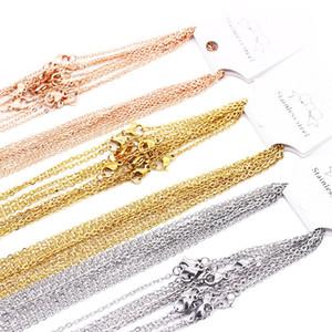 Acero inoxidable de 1 mm 2 mm cadenas de acoplamiento de plata del color de Rose Oro Oro 45-60cm Hombres Mujeres DIY Collares joyería apta colgante granel venta 10pcs / bolsa