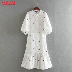 Tangada моды женщины вышивки хлопок платье 2020 нового прибытие длинного рукава дама белый миди платье Vestidos CE205