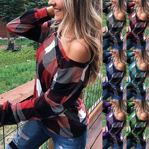 Womens Designer Shirts Off Shoulder Casual Long Sleeve Loose Womens Top Plaid Patchwork Irregular Spring Autumn