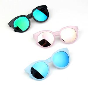 Matte montatura degli occhiali da sole colorati Blu Rosa Lens Oro Reflective Anti-UV per bambini Occhiali da sole per ragazzi delle neonate Outdoor