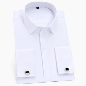Новое прибытие Мужской французской манжеты рубашка платье с длинным рукавом Социальной работой Бизнес нежелезных Формальные Мужчины Твердой белой рубашкой с Запонкой