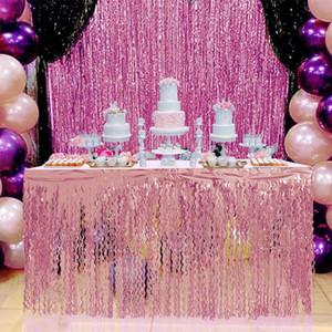 Decoración Tableskirt fiesta de cumpleaños de la boda de Rose del brillo del oro 275x75CM espiral de la borla de la tabla de la falda de tul PET Tutu Tabla falda para las