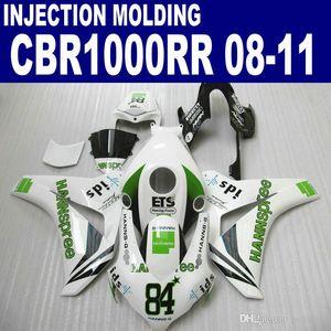 Bodykits ABS de inyección OEM para carenados HONDA CBR1000RR 2008-2011 CBR 1000 RR verde blanco kit de carenado HANNSpree 08 09 10 11 # U92