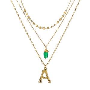 Collana da 26 lettere da donna collane multistrato in pietra naturale verde pendente