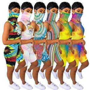 Лето Женщины Проектировщик 2 шт Эпикировка Футболка Шорты Tie Dye Tracksuit Jogger костюм с маской рукавов Пуловер Повседневная одежда C66