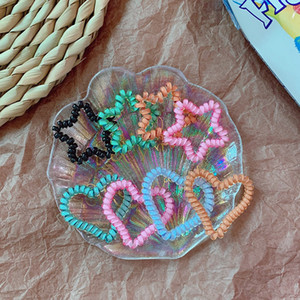 Yıldız Telefon Tel Kordon Renkli Kalp Şekli Hairband Saç Kravat Kızlar Elastik At Kuyruğu Sahipleri Saç Halka Halat Moda Bilezik GGA2404