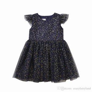 Vêtements enfants filles Bling Star Dress Tulle 2019 été Ruffle robe à manches courtes Tulle enfant en bas âge layette Princesse Party Dress