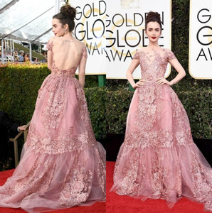 2019 Nuovi Golden Globe Awards Lily Collins Zuhair Murad Celebrity Evening Dresses Sheer Backless Pink Lace Appliqued Red Carpet Gowns 136