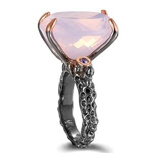 Empfohlene Best Offer Neueste Big Oval Rosa Zirkonia Ring 2 Tone Schmuck Kupfer Ringe weibliche Mode-Schmuck
