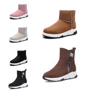 las mujeres de moda botas caliente nuevo sin marca Triple Negro Rojo Beige Brown ante de la nieve del invierno botines zapatos para caminar al aire libre 35-40 Estilo 14