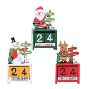 Ev Noel Süsleme Yılbaşı Hediyeleri JK1910 için Lockscreen Takvimler Ahşap Santa Kardan Adam Ren Geyiği Noel Süsleri