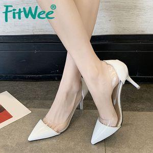 Fitwee 4 Couleur Femmes Pompes Mode Transparent Pvc talon haut Chaussures Femmes Sexy Stiletto Toe Bureau Pointu Chaussures Taille 34-39
