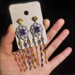 Long Tassel Flower Earrings For Female Brand Designer 925 Silver Needle Wedding Jewelry New Fashion Crystal Pendant Earings
