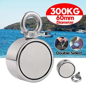300KG Çift Yan Mıknatıs halka delik derin deniz aracı ile Pot Montaj Çekme Güçlü Yuvarlak Neodimyum Balıkçılık Mıknatıs Balıkçılık