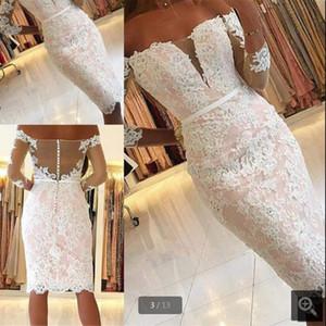 2019 Vestidos de Fiesta розовые кружевные короткие ножны выпускные платье с плеча с длинным рукавом миниатюрные выпускные платья неформальные коктейльные платья выпускного вечера