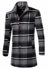 Papijam Men's Slim Fit Plaid Long Wool Blend Trench Coat