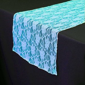 5pcs Top Quality 30 * 275cm Turquoise / blue Lace Table runcher For Wedding Event Party Decoration