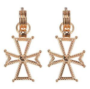 Filigree Flower Cross Earrings Ear Hook Antique Silver Chandelier Jewelry punk female geometric cross double earrings