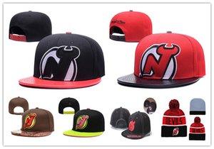 뉴저지 데블스 아이스 하키 니트 Beanies 자수 조절 식 모자 수 놓은 스냅 백 캡 검정 빨강 갈색 스티치 모자