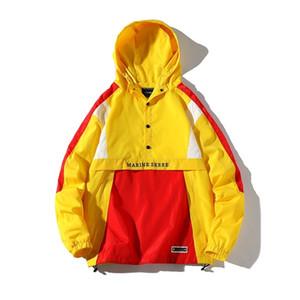 Una Reta Kapşonlu Ceketler Erkekler Sonbahar Yeni Patchwork Renk Bloğu Yarım Düğme Kazak Eşofman Ceket Adam Hip Hop Streetwear Ceket