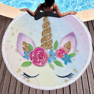 Mulheres Unicórnio Rodada Toalha de Jogue Praia com borla Microfibra Unicórnio cobertor de praia xale Grosso e Macio Círculo Toalhas de banho Yoga Tapete de Piquenique 460g