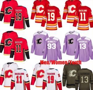 Custom Calgary Flames 11 Микаэль Баклунд 13 Джонни Годро 19 Мэтью Ткачук 93 Сэм Беннетт флаг США мужчины Хоккей Мужчины Женщины молодежные майки