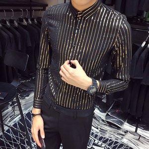 Cool2019 Vulgar Men Xia Tycoon Jin Liangshai Stripe Hairstyle Division Club Shirt