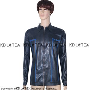 Black With Blue Trims Sexy Latex Jacket Zip At Front Fetish Rubber Coat Plus Size Male YF-0007