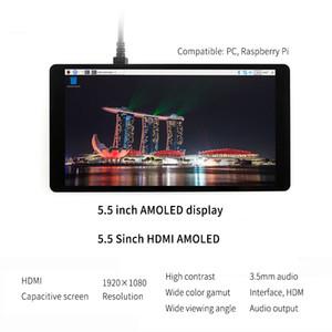 Raspberry Pi LCD AMOLED 5,5-дюймовый 1080P 5-дюймовый HDMI емкостный модуль 1920 * 1080 с сенсорным экраном для Raspberry Pi 3B + 2B +