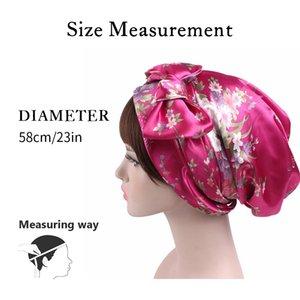1Pc Women Satin Night Sleep Cap Hair Bonnet Hat Silk Head Cover Wide Elastic Band Shower Caps 58Cm Other Bath Toilet Supplies