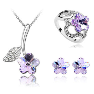 Free Shipping Flower Leaf Pendant Austria Crystal Embellishment Choker Necklace Charm Stud Earrings Wedding Rings Fine Jewelry Set For Women