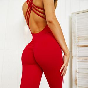 Высокое качество красный фиолетовый женщины дизайнер йога фитнес комбинезон высокая талия спинки one piece йога одежда
