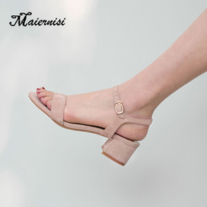 MAIERNISI Plus Size Verão Sandals Feminino Aberto à frente Mulheres 4 centímetros grossos sapatos de salto Gladiator diário Sandálias Mulher Slingbacks