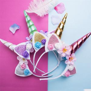 Meninas bonitos flor orelhas de gato headbands crianças headwear foto adereços partido hoop hairbands crianças acessórios para o cabelo