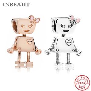 Hembra lindaHombre Robot Beads fit Pandora Pulsera Plata de Ley 925 Corazón Tallado Oro Rosa Niña Encanto Encantador niños