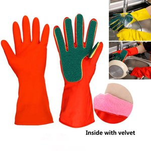 Cleaning Gloves Home Kitchen Washing Spone Cleaning Gloves Sponge Fingers Rubber Household Wash Dish Bowl Spoon Gloves 2pcs lot HH7-1953