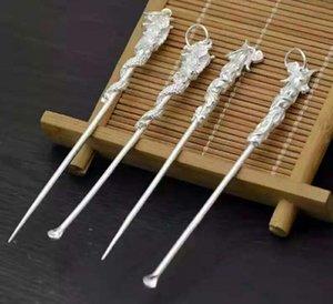 Drangon Phoenix Head White Copper Silver Color Earpick Toothpick 2pcs / lot / Set 8cm Longitud Cera Herramienta Cuchara para fumar Hookahs Shisha Moda