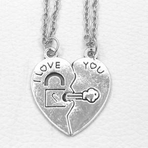 Paar Halsketten Set Damen Geschenke Mode Schloss Schlüssel Paar Ich liebe dich Herz Anhänger Halskette 2 Teile / satz Schön Schlüsselanhänger Halskette