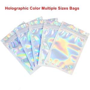 Holográfico de color Tamaño múltiple del olor a prueba de Bolsas de 100 piezas de Mylar puede volver a sellar bolsas transparentes Zip Lock Alimentos caramelo de almacenamiento Embalaje Bolsas D0501