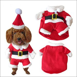 Pet Christmas Costume Dog Suit with Cap Santa Claus Coat Hoodies for Small Dogs Cats Funny Puppy Christmas Party Clothes AUG889