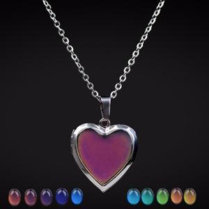 Mood Salkım Şeftali Kalp Love kolye kolye Sıcaklık Kontrolü Renk Değişimi kolye Paslanmaz Çelik Zincir Mücevher Kadınlar