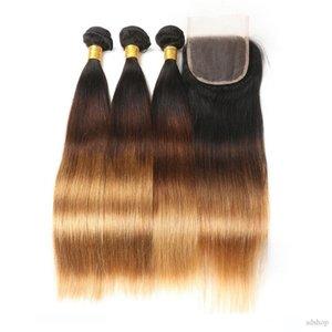 Ombre Perulu İnsan Saç Paketler ile Kapatma Üç Ton 1B 4 27 Düz Saç Dokuma 3 Paketler ile Dantel Kapanış 4 * 4