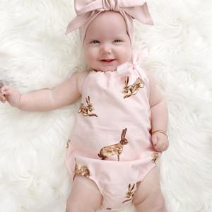 Baby Girl Backless Mamelucos Disfraces de bebé Conjunto Niños Algodón Mono Nuevas correas Halter Mameluco Foto apoyos con arco diadema
